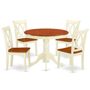 Korbin 5 Piece Solid Wood Breakfast Nook Dining Set