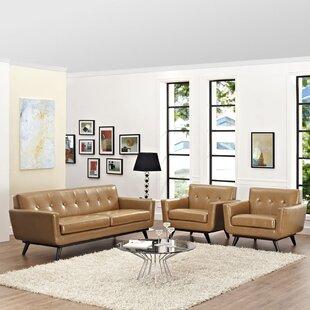 Bargain Saginaw Leather 3 Piece Living Room Set by Corrigan Studio Reviews (2019) & Buyer's Guide