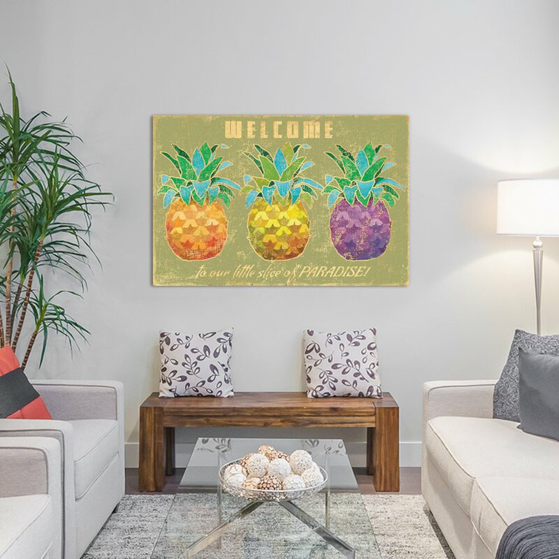 Pineapple Wall Decorations - Island Time Pineapples II Graphic Art on Canvas