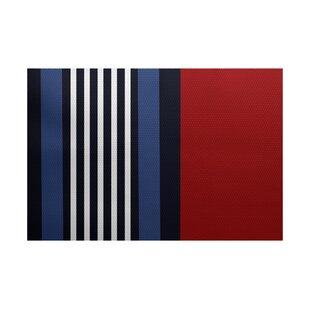 Inexpensive Bartow Red/Black/Blue Indoor/Outdoor Area Rug ByBreakwater Bay