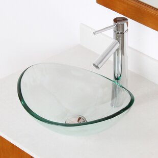 Elite Mini Tempered Glass Oval Vessel Bathroom Sink
