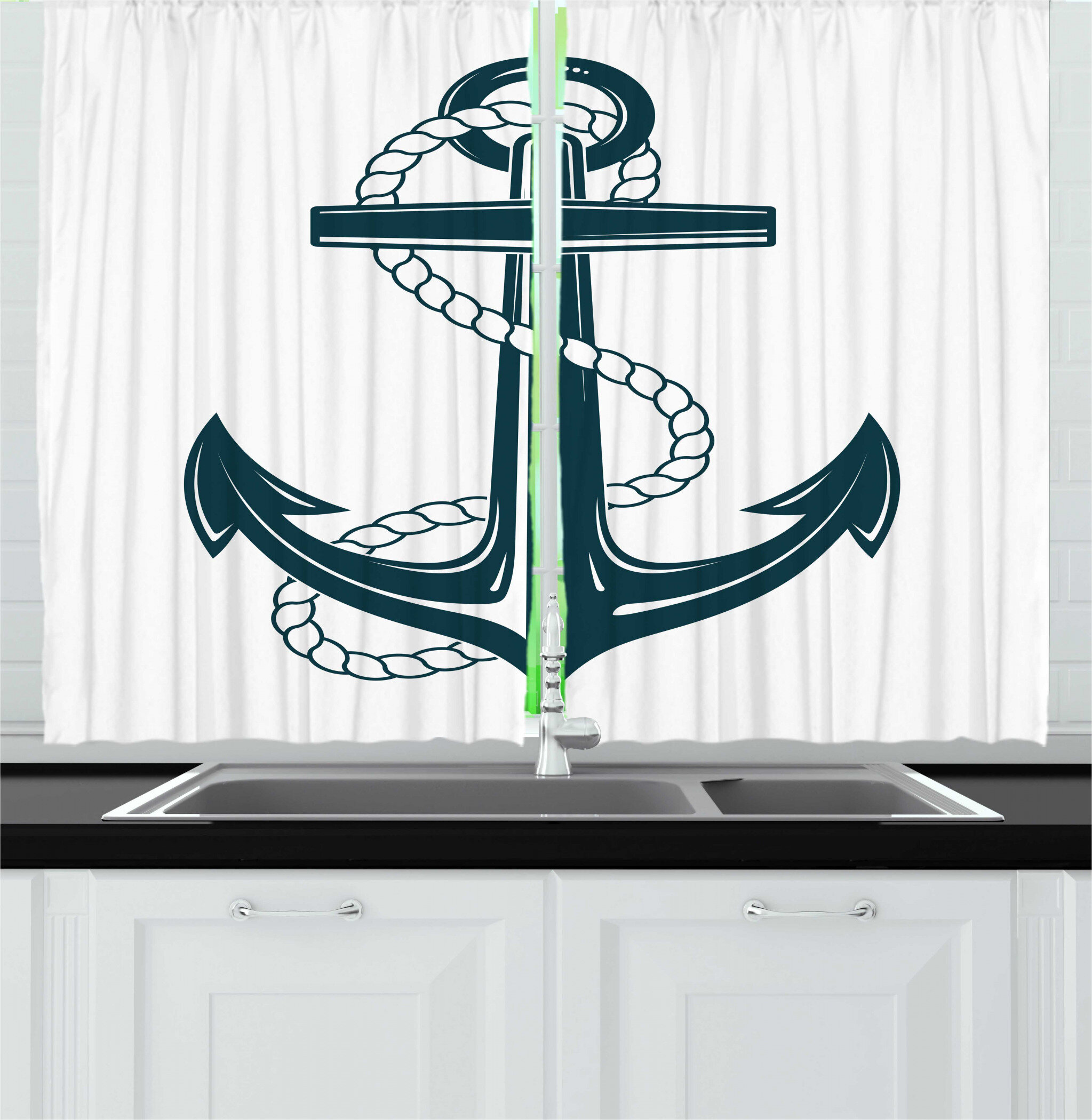 East Urban Home 2 Piece Navy White Iconic Symbol Of Maritime Nautical Anchor With A Rope Monochrome Art Kitchen Curtain Set Wayfair