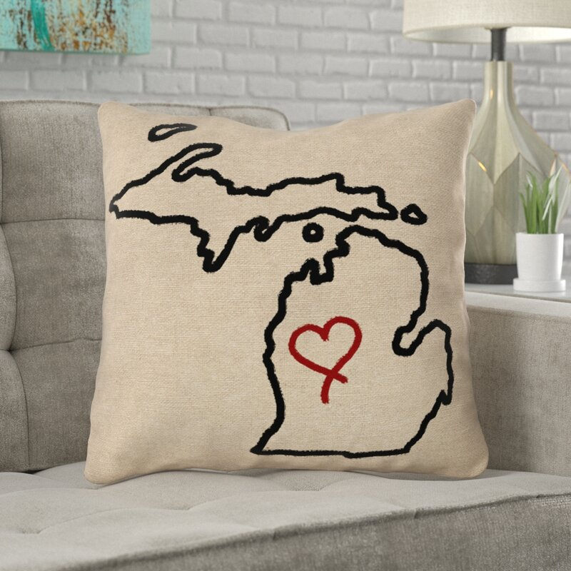 Ivy Bronx Austrinus Michigan Love Outline Outdoor Throw Pillow Wayfair