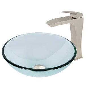 Crystalline Glass Circular Vessel Bathroom Sink with Faucet VIGO