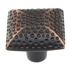 Platinum Hammered Square Knob