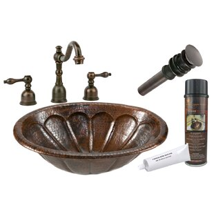 Great deal Sunburst Metal Oval Drop-In Bathroom Sink with Faucet ByPremier Copper Products