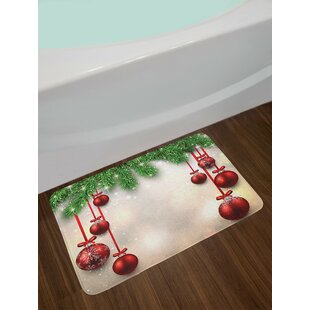 Bargain Christmas Xmas Winter Season Theme Fir Twigs and Vibrant Balls Graphic Print Non-Slip Plush Bath Rug By East Urban Home