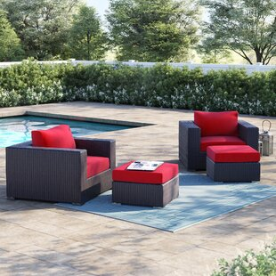 Brentwood 4 Piece Rattan Conversation Set with Cushions