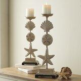 2 Piece Stone Candlestick Set (Set of 2)