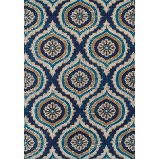 Betton Polypropylene Navy Blue/Beige Area Rug