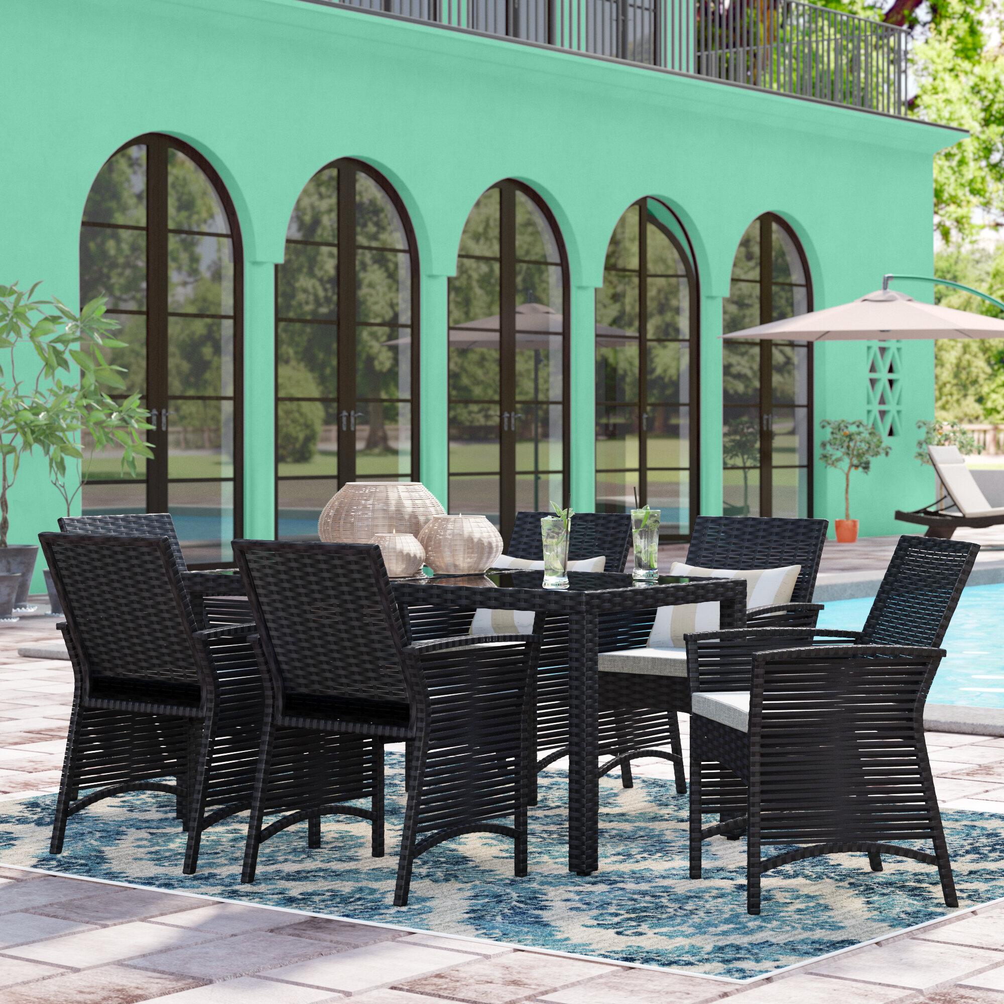Bay Isle Home Zayas Rectangular 6 Person 57 1 Long Dining Set With Cushions Reviews Wayfair