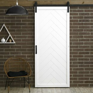 Herringbone Solid Panel Wood Slab Interior Barn Door by Dogberry Collections