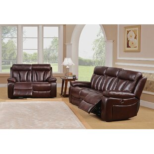 Lenny Reclining 2 Piece Leather Living Room Set by