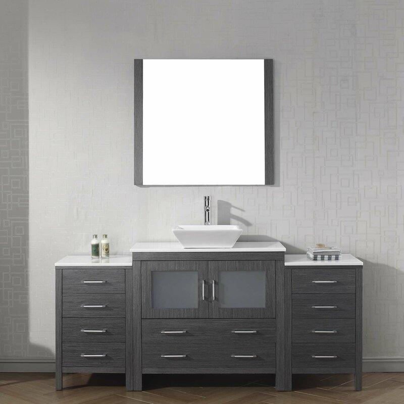 Cartagena 71 Single Bathroom Vanity Set With White Stone Top And Mirror