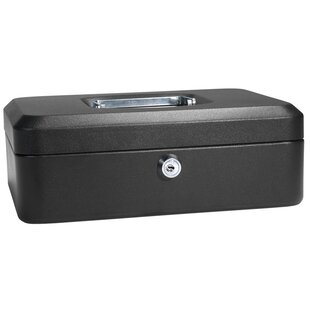 Medium Black Cash Box with Key Lock by Barska