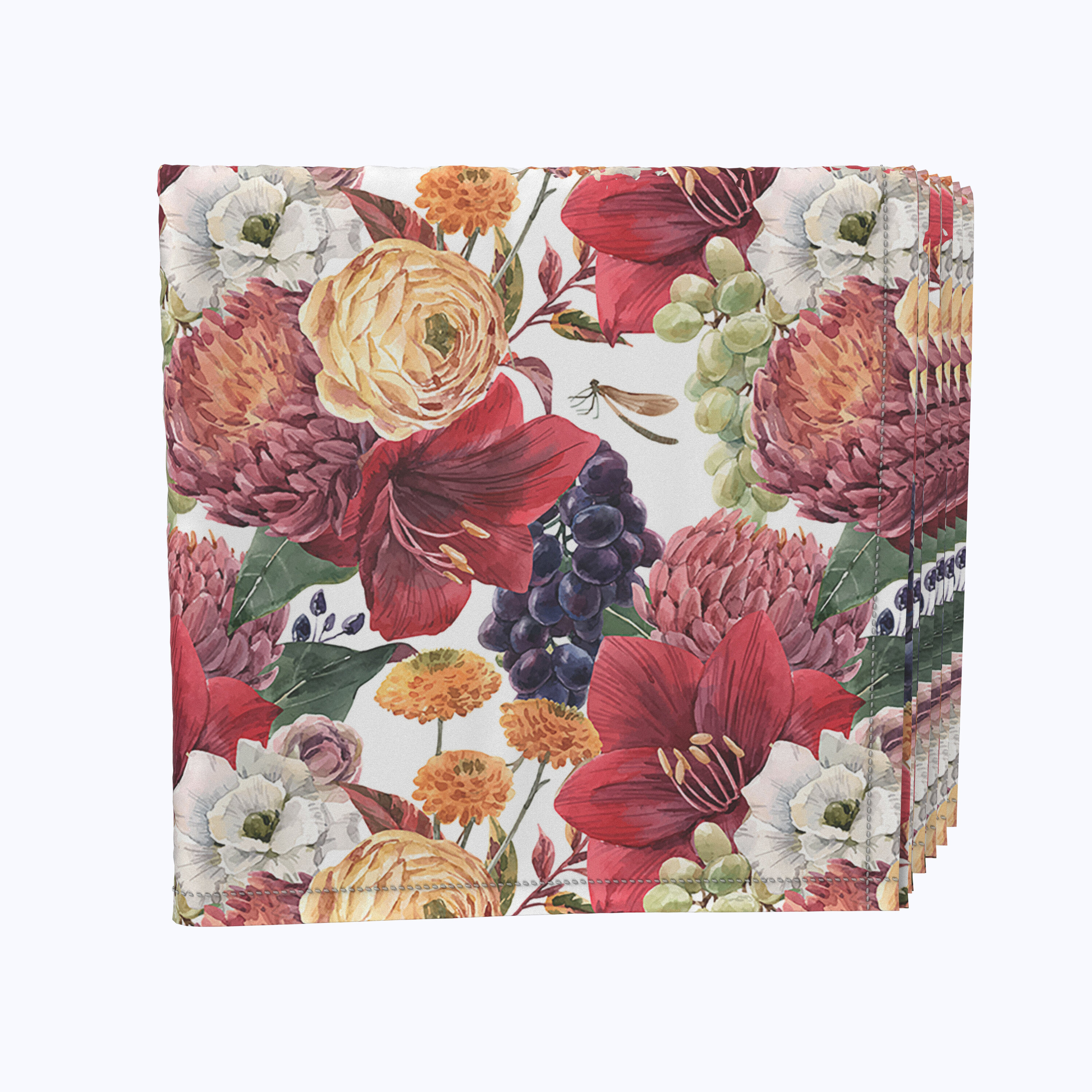 Fabric Textile Products Inc Napkin Set 100 Milliken Polyester Machine Washable Set Of 12 18x18 Watercolor Floral Grapes Wayfair
