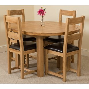 Soejima Solid Oak Dining Set With 4 Lincoln Chairs By Rosalind Wheeler