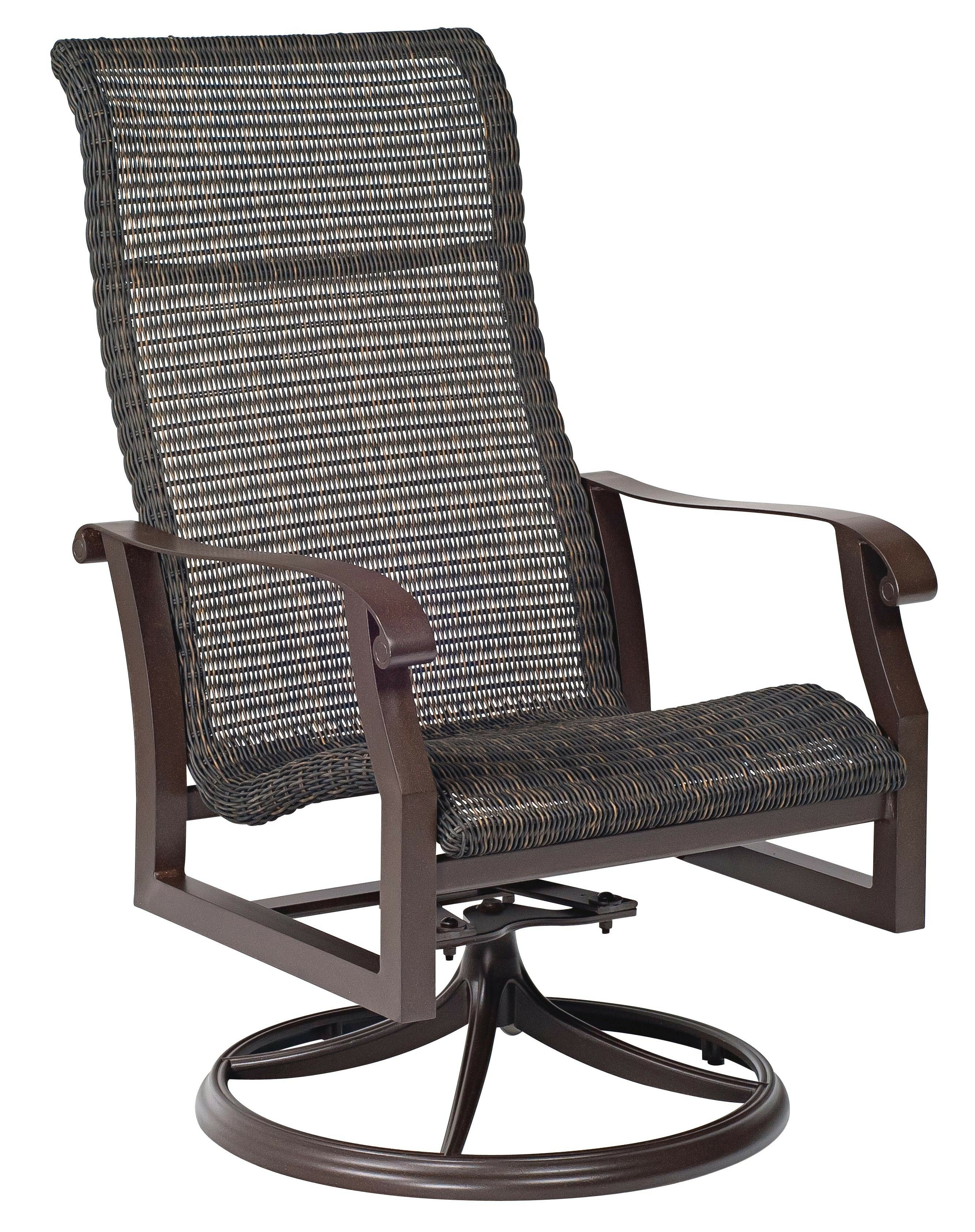 Woven High Back Swivel Rocking Chair