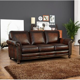 Cecília Leather Sofa by Darby Home Co Bargain