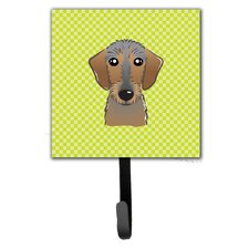 Checkerboard Wirehai Dachshund Leash Holder and Wall Hook by Caroline's Treasures