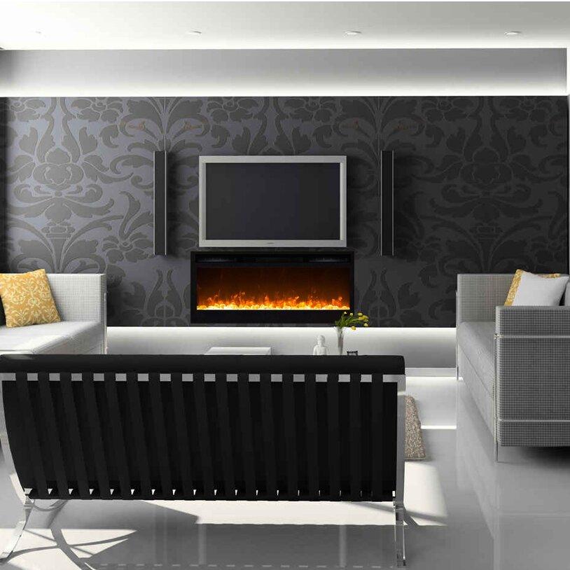 Orren ellis jemaine contemporary wall mount electric fireplace - Contemporary wall mount fireplace ...