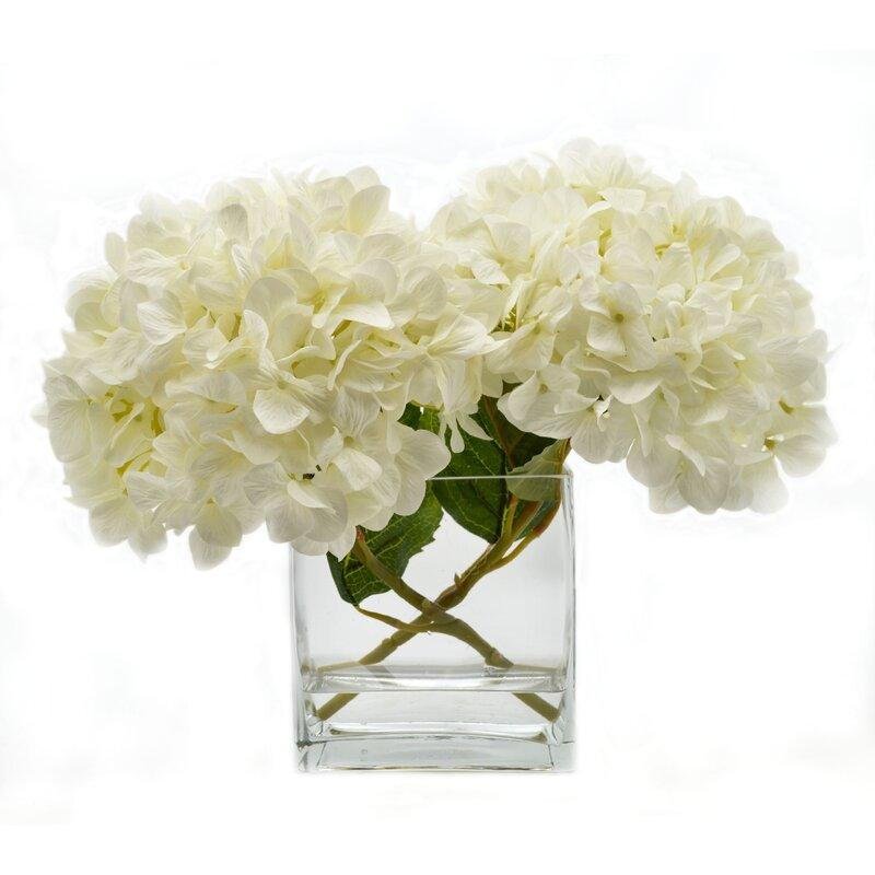 Birch Lane Faux White Hydrangea In Glass Vase Birch Lane