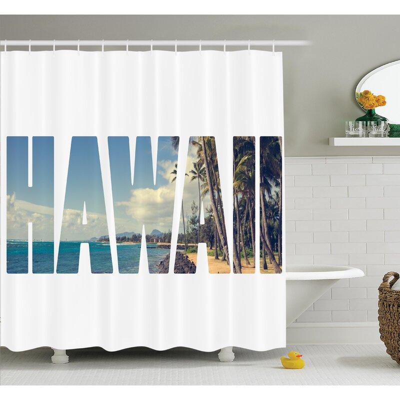 Tropical Hawaii Themed Artsy Shower Curtain Set
