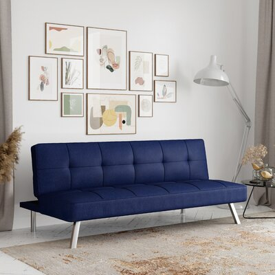 """Twin 66.1"""""""" Wide Tufted Back Convertible Sofa Serta Futons Body Fabric: Navy 100% Polyester -  SC-CRYS3LU2051"""