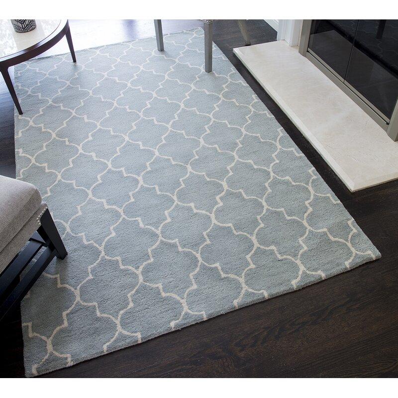 Darby Home Co Barthelemy Geometric Handmade Tufted Wool Light Blue Area Rug Reviews Wayfair
