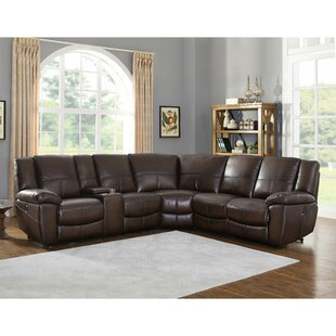 Compare prices Yeomans Premium Leather Reclining Sectional by Red Barrel Studio Reviews (2019) & Buyer's Guide