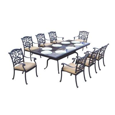 Calhoun 9 Piece Dining Set With Cushions by Fleur De Lis Living #2