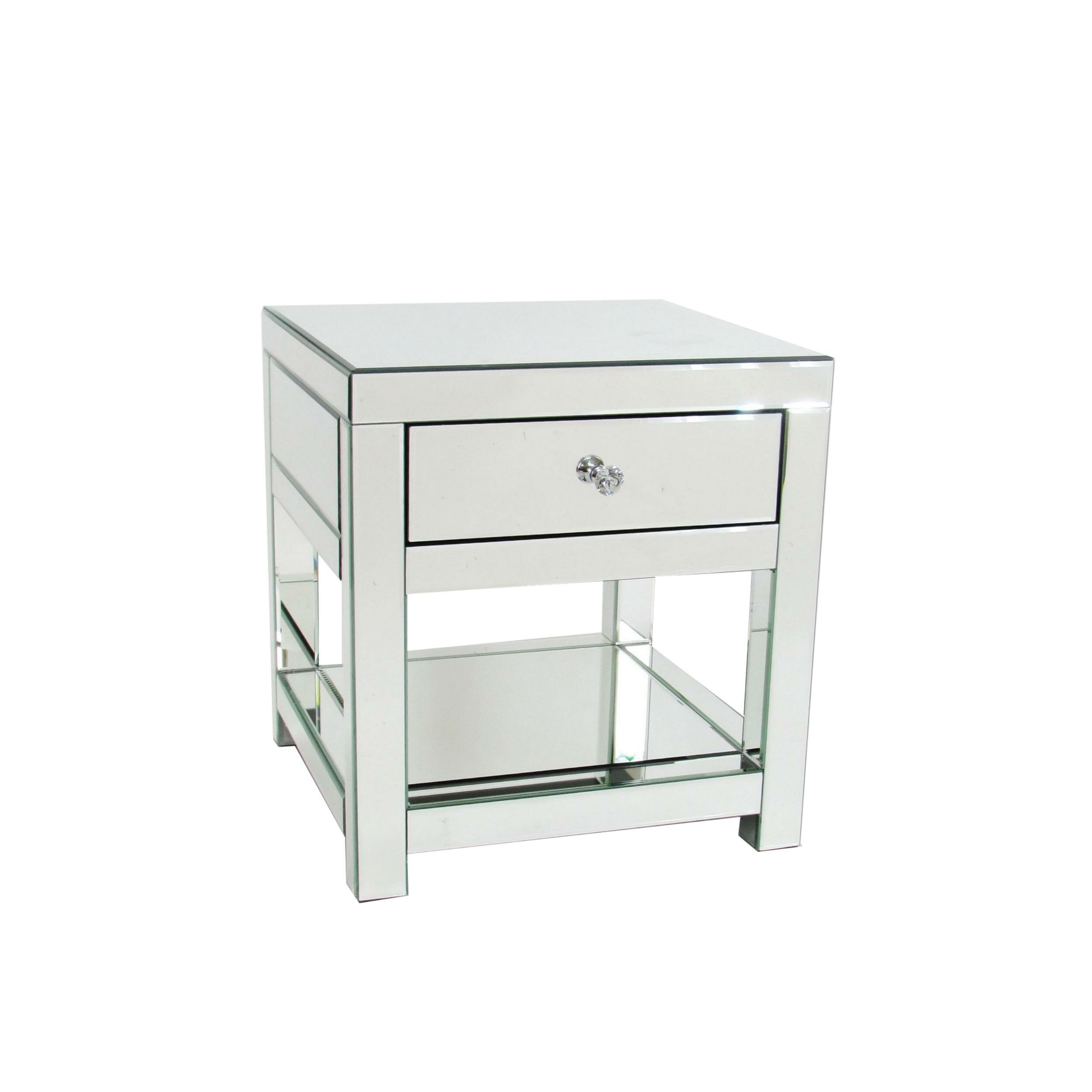 Everly Quinn 22 Inch Beveled Mirror Side Table With 1 Drawer