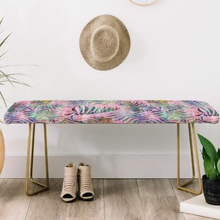 East Urban Home Schatzi Brown Reeya Tropical Upholstered Bench