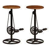 Fossett Solid Wood Bar Stool (Set of 2) by Williston Forge