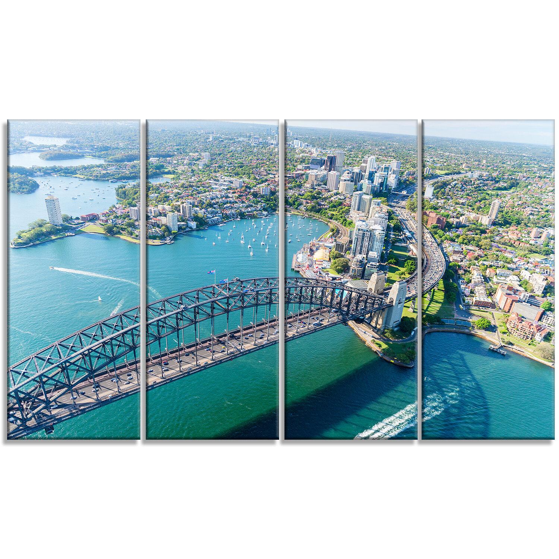 Designart Sydney Aerial View 4 Piece Photographic Print On Wrapped Canvas Set Wayfair