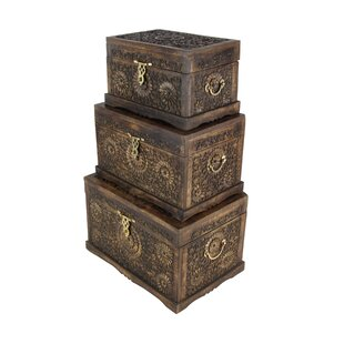 Cole & Grey 3 Piece Wood Carved Trunk Set