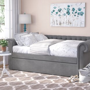Full Gowans Button Tufted Linen Daybed with Trundle