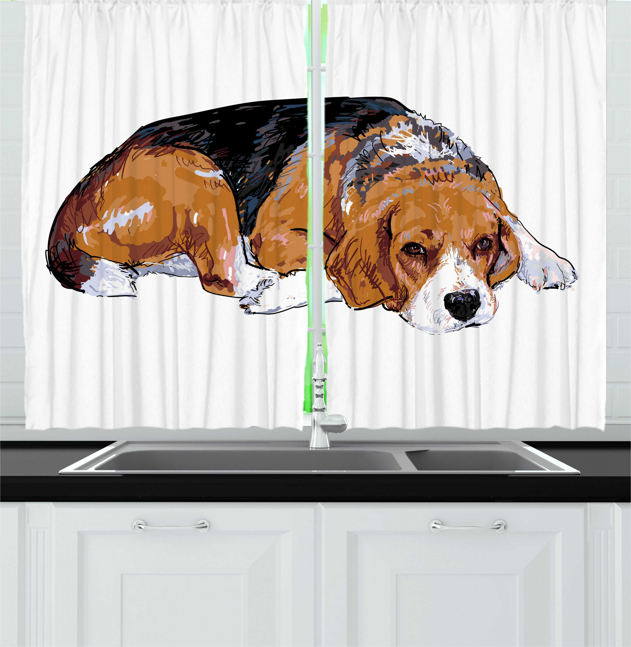 East Urban Home 2 Piece Beagle Sketch Like Drawing Of Dog Animal Pattern On Plain Backdrop Kitchen Curtain Set Wayfair