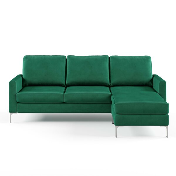 Enjoyable Modern Contemporary Emerald Green Velvet Sectional Allmodern Gmtry Best Dining Table And Chair Ideas Images Gmtryco
