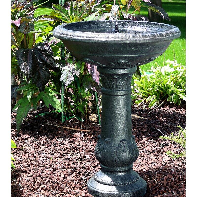 Fleur De Lis Living Maidenhead Fibergl Solar Bird Bath Water Fountain Reviews Wayfair