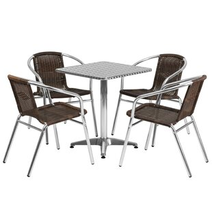 Ebern Designs Aurelius Square Indoor Outdoor 5 Piece Bar Height Dining Set