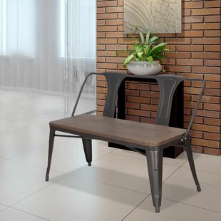 Metal and Wood Bench by Adeco Trading