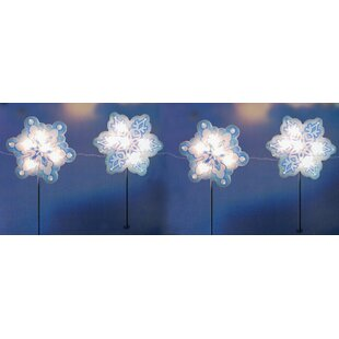 4 piece holographic snowflake lighted christmas pathway marker stake set - Christmas Solar Pathway Lights