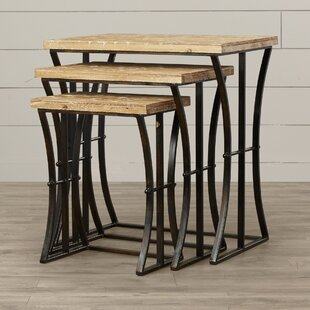 Anaelle 3 Piece Wood and Metal Nesting Table Set by August Grove