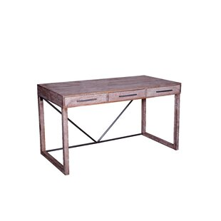 Welsh 3 Drawer Desk by Union Rustic 2019 Sale