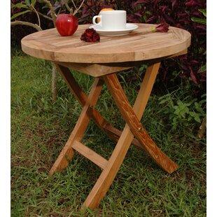 Farnam Folding Teak Side Table by Rosecliff Heights Best #1