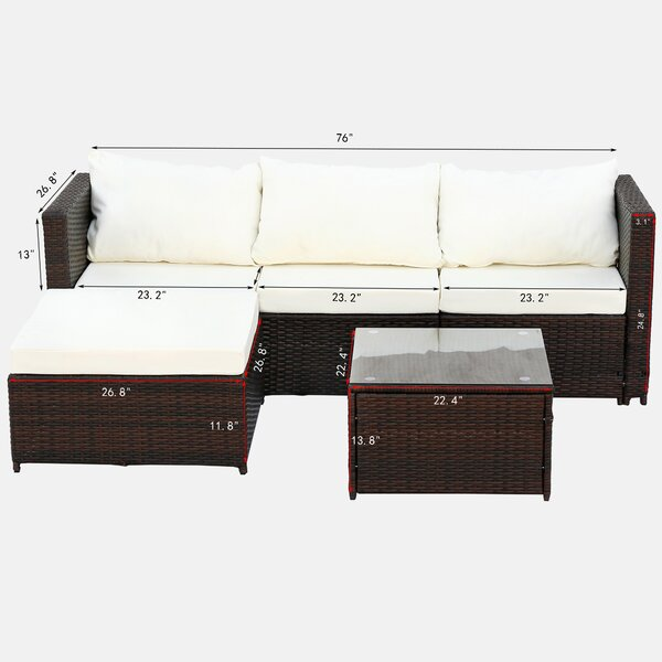 Frederikus 3 Piece Rattan Complete Patio Set with Cushions