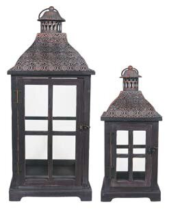 Bargain Decorative Metal/Wood Lantern (Set of 2) By Bloomsbury Market