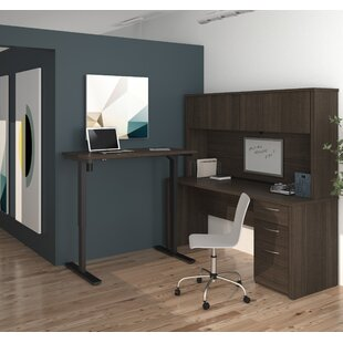 Latitude Run Karyn Electric Adjustable Height L-Shape Executive Desk with Hutch