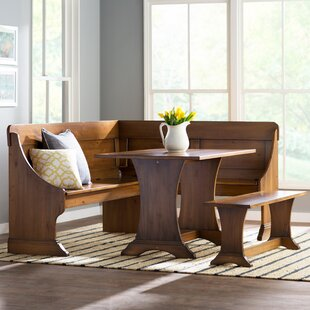 Rockport 3 Piece Solid Wood Breakfast Nook Dining Set Three Posts